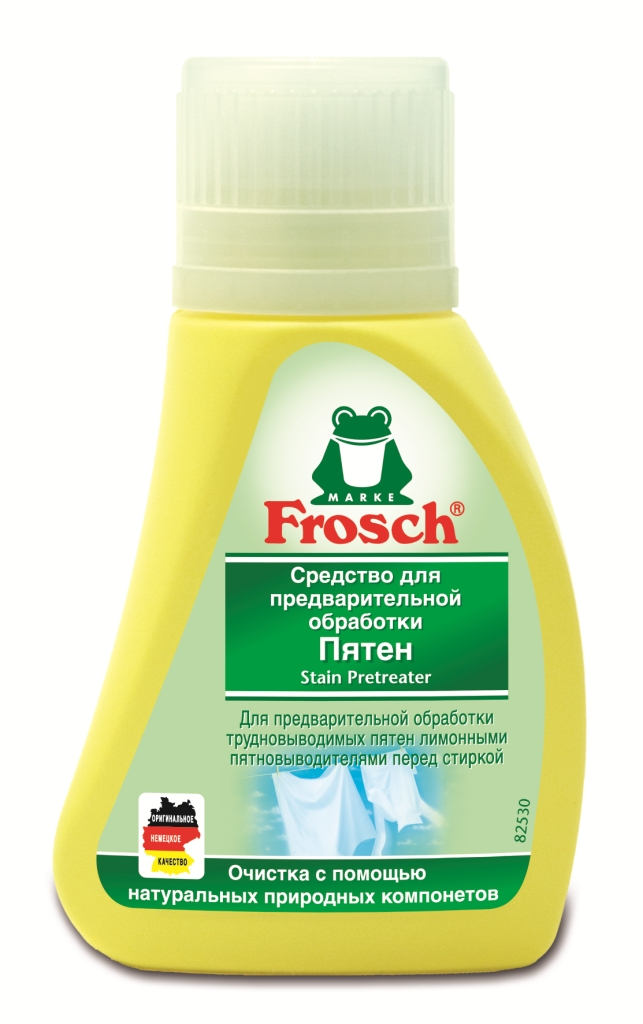 Средство для предварительной обработки пятен Frosch, 75 мл1105957Средство Frosch предназначено для предварительной обработки въевшихся пятен перед стиркой. Эффективное удаление пятен с помощью цитрата соли лимонной кислоты. Характеристики: Объем: 75 мл. Производитель:Германия. Товар сертифицирован.Уважаемые клиенты! Обращаем ваше внимание на возможные изменения в дизайне упаковки. Качественные характеристики товара остаются неизменными. Поставка осуществляется в зависимости от наличия на складе.
