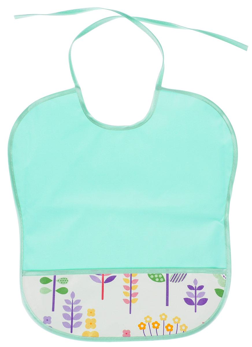 Колорит Нагрудник с карманом цвет светло-бирюзовый 33 х 33 см -  Все для детского кормления