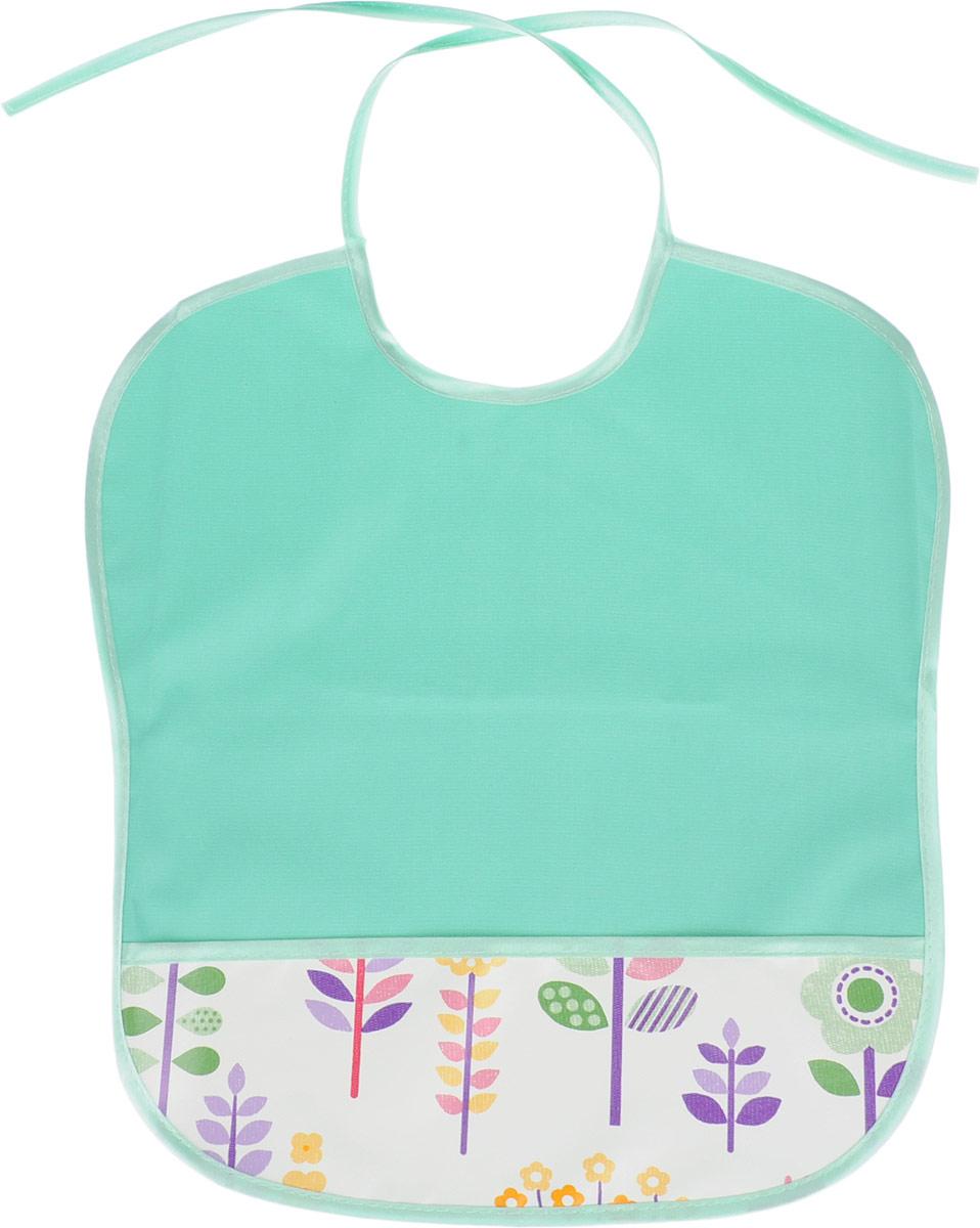 Колорит Нагрудник с карманом цвет темно-мятный 33 х 33 см -  Все для детского кормления