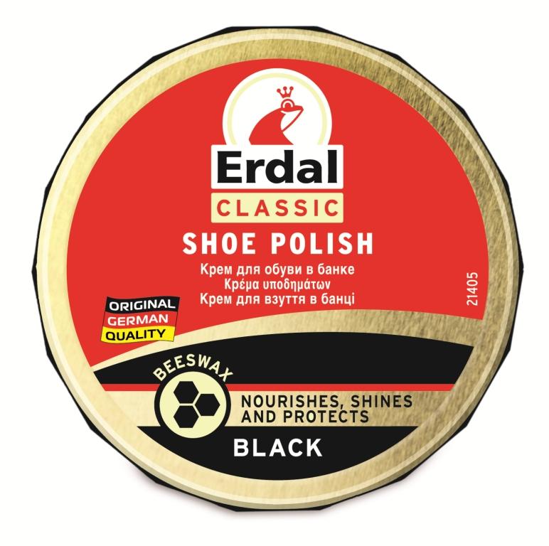 Крем для обуви Erdal, цвет: черный, 75 мл уход за обувью