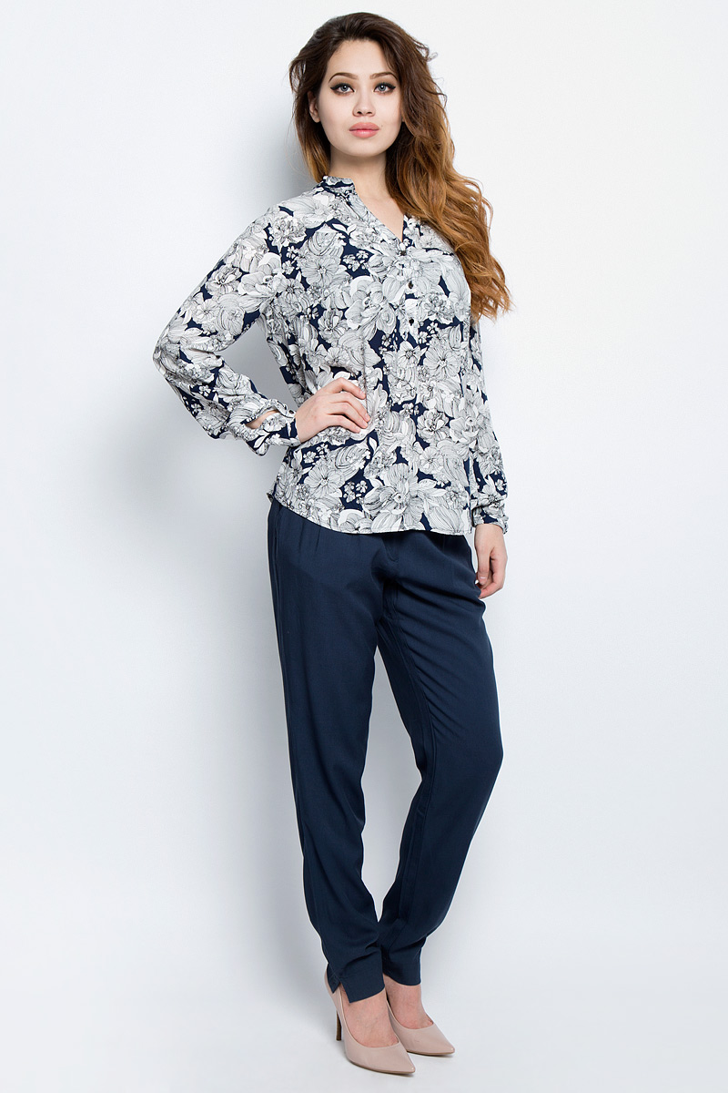 Блузка женская Finn Flare, цвет: темно-синий. S17-11019_101. Размер XL (50) платье finn flare цвет светло бежевый s17 12036 702 размер xl 50