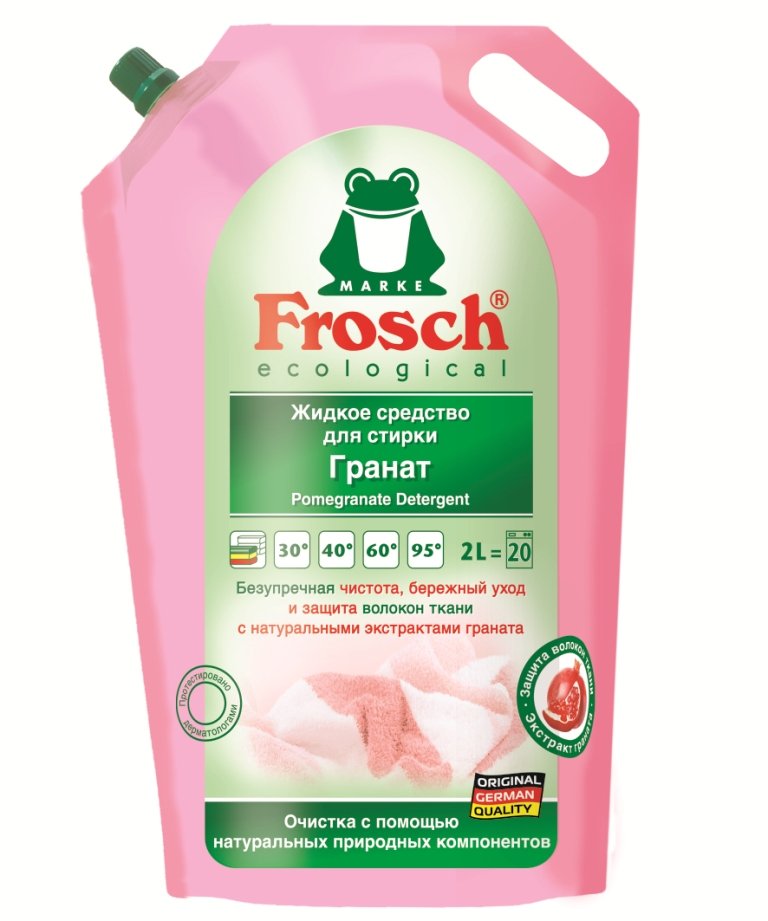 Жидкое средство для стирки Frosch, с экстрактом граната, 2 л жидкое средство для стирки frosch с алоэ вера 2 л