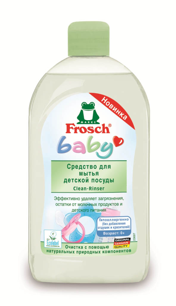 Средство Frosch для мытья детской посуды, 500 мл712355Эффективно удаляет загрязнения с детской посуды, бутылочек, сосок, а также игрушек.Нежная формула, содержащая ухаживающий за кожей провитамин В5,эффективно удаляет засохшие остатки молока, сока, пищевых продуктов иполностью смывается с поверхности посуды. Протестировано дерматологами,гипоаллергенно, не содержит отдушек и красителей, нейтрально для кожи.