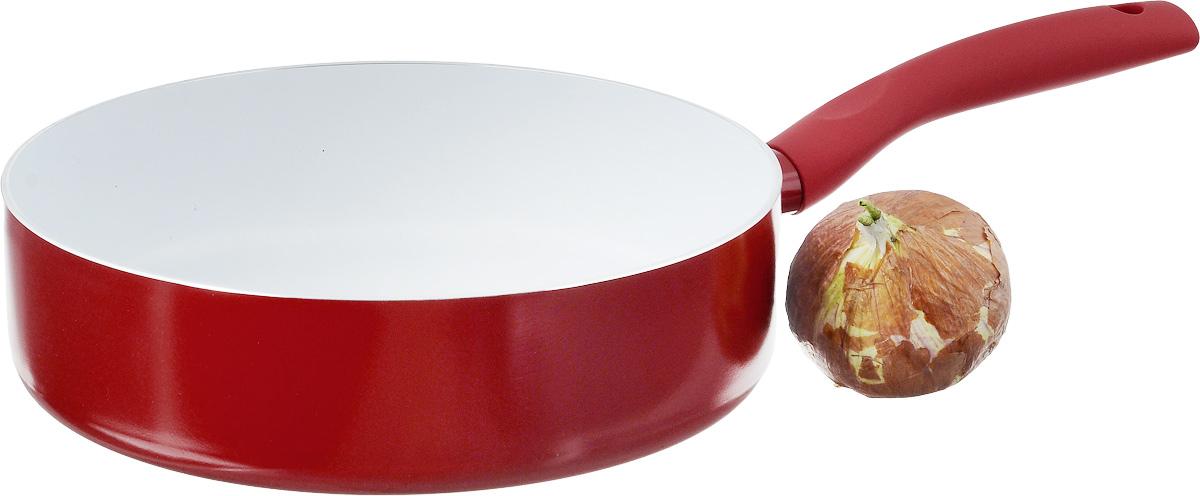 """Сотейник NaturePan """"Modern"""" выполнен из высококачественного алюминия с антипригарным  керамическим покрытием. Покрытие абсолючно безопасно для здоровья, не содержит вредных  веществ. Керамическое покрытие позволит вам готовить вкусную и здоровую еду с минимальным  добавлением масла и жира.   Толщина дна обеспечивает равномерное распределение тепла по всей поверхности сотейника,  что улучшает качество приготовленной пищи.  Сотейник оснащен удобной пластиковой  ручкой с противоскользящим покрытием, которая не нагревается.  Подходит для всех  типов плит, кроме индукционных.  Разрешена только ручная мойка.   Высота стенки: 7 см.  Длина ручки: 18,5 см."""
