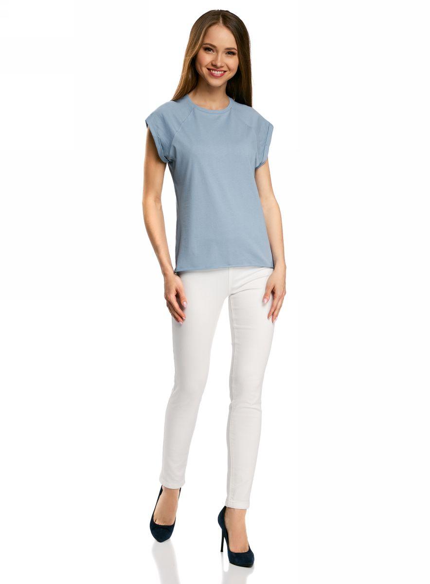Футболка женская oodji Ultra, цвет: серо-голубой. 14707001B/46154/7002N. Размер L (48) пуловеры oodji пуловер