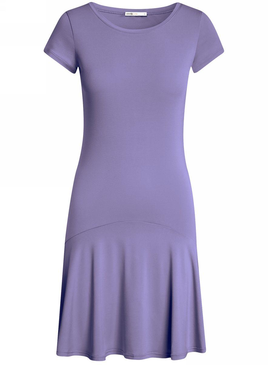 Платье oodji Ultra, цвет: сиреневый. 14011017/46384/8000N. Размер S (44)14011017/46384/8000NПриталенное платье oodji Ultra с юбкой-воланами выполнено из качественного трикотажа. Модель средней длины с круглым вырезом горловины и короткими рукавами выгодно подчеркнет достоинства фигуры.
