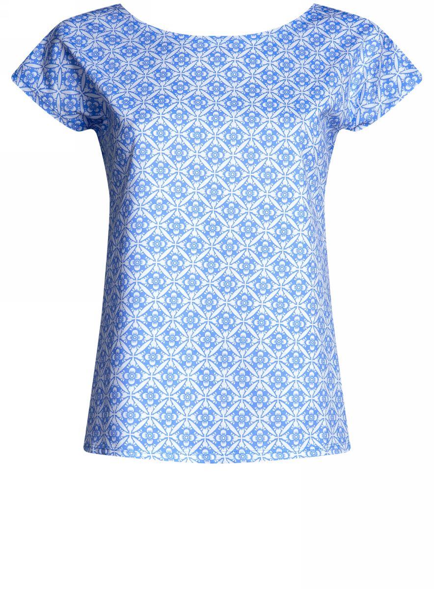 Футболка женская oodji Ultra, цвет: белый, синий. 14702001/46896/1075O. Размер S (44)14702001/46896/1075OЖенская футболка от oodji выполнена из натурального хлопка. Модель с короткими рукавами оформлена принтом.