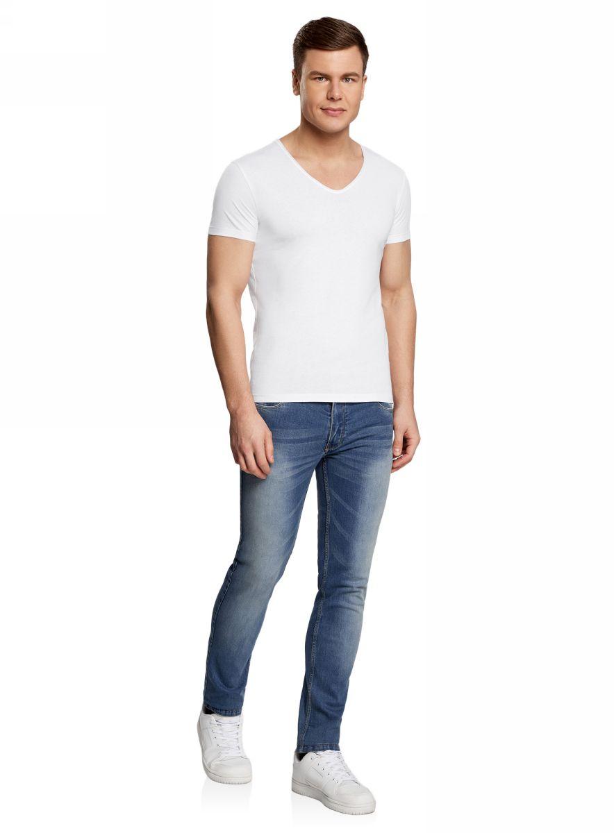 Футболка мужская oodji Lab, цвет: белый. 5L602001M/46729N/1000N. Размер L (52/54)5L602001M/46729N/1000NМужская футболка с V-образным вырезом горловины и короткими рукавами выполнена из натурального хлопка.