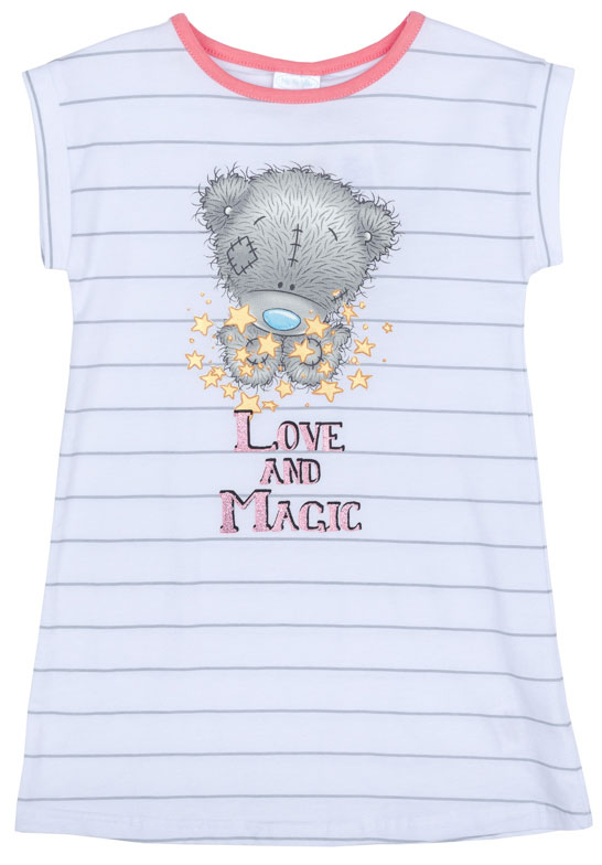 Ночная рубашка для девочки PlayToday, цвет: белый, серый. 676007. Размер 110676007Ночная рубашка для девочки подарит не только комфорт и уют, но и понравится ребенку благодаря своему веселому и приятному дизайну. Изготовленная из эластичного хлопка, она тактильно приятна, хорошо пропускает воздух, а благодаря свободному крою не стесняет движений во сне.