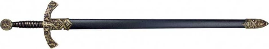 Меч в черных ножнах. Оружейная реплика. Черный металлD7/4163NМеч — вид холодного оружия с прямым клинком, предназначенный для рубящего удара или рубящего и колющего ударов, в самом широком смысле — собирательное название всего длинного клинкового оружия с прямым клинком. В современном отечественном историческом оружиеведении принято более узкое определение меча: наступательное оружие с обоюдоострым прямым клинком длиной более 60 сантиметров, предназначенное прежде всего для рубящих ударов. Оружие с односторонней заточкой клинка относится к палашам.Меч от античности до позднего средневековья был настолько известным видом оружия, что, наряду со щитом, стал символом воина и воинского дела, вошёл в геральдику, афоризмы и поговорки, даже в XXI веке оставаясь узнаваемым символом и героем фэнтезийной и даже научно-фантастической литературы. При этом на практике в течение большей части своей истории меч был дорогим и сравнительно малораспространённым оружием, играя в комплексе вооружения, как правило, вспомогательную роль. Основным боевым холодным оружием вплоть до широкого распространения огнестрельного было копьё в различных его формах (впрочем, то же ружьё со штыком представляет собой вариант того же копья). На втором месте во многих культурах находились боевые топоры, клинки которых были намного проще в изготовлении и менее металлоёмким, чем полноценный меч. Массовое производство качественных длинных клинков и вооружение ими рядового состава массовых армий стало возможно лишь к исходу средневековья, уже после потери классическим мечом актуальности в качестве боевого оружия, хотя в роли атрибута статуса офицера клинковое оружие — обычно шпаги или сабли — использовалось в большинстве армий ещё до самого конца XIX века. В европейских странах мечи активно использовались до конца XVI века, а в XVII веке были окончательно заменены на шпаги, сабли и палаши, которые по сути представляли собой его особые, высокоспециализированные формы. На Востоке, включая Русь, сабля окончатель