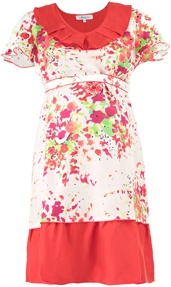 Платье для беременных Mammy Size Premium, цвет: красный, белый. 51393537. Размер 4451393537Платье Mammy Size Premium полуприлегающего силуэта, трапециевидной формы, из шелка, отрезное под грудью на поясе, длиной до середины колена. Горловина углубленная, овальной формы с декоративным воланом со складками. Рукав - крылышко, свободной формы с фалдами. Юбка двойная из основной и дополнительной ткани разных длин.