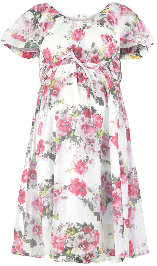Платье для беременных Mammy Size, цвет: розовый, белый. 512011627. Размер 48512011627Платье для беременных Mammy Size выполнено из вискозы и полиэстера. Модель с круглым вырезом горловины и короткими рукавами.