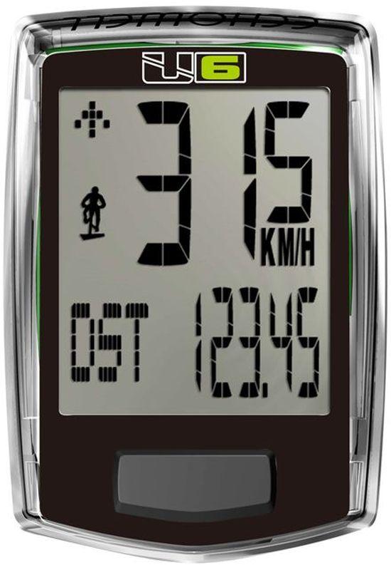 Велокомпьютер Echowell U6, проводной, 6 функций, цвет: черныйU6Проводной велокомпьютер Echowell U6 с шестью функциями в стильном корпусе предназначен для использования при занятиях велоспортом, велотуризмом и просто катании на велосипеде. Это удобный и простой в использовании электронный прибор, предоставляющий велосипедисту всю необходимую информацию о поездке. Имеет отличную водо и пылезащиту.Велокомпьютер состоит из двух частей соединенных проводом - дисплея, внешне похожего на электронные часы и датчика скорости. Дисплей крепится на руле с возможностью мгновенно отсоединить его, когда нет желания оставлять на велосипеде без присмотра или под дождем. Магнитный датчик скорости (геркон) крепится рядом с колесом.Велокомпьютер определяет скорость движения с точностью до десятых долей, дистанцию - с точностью до 10 метров. На дисплее функции поочередно сменяют друг друга. Все операции и настройки выполняются одной кнопкой.Функции: скорость текущая, скорость средняя, изменение скорости, дистанция поездки, одометр, время поездки.Питание: от литиевой батарейки типа CR2032 (входит в комплект).