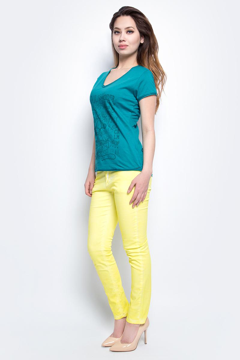 Футболка женская Baon, цвет: голубой. B237090_Pale Emerald. Размер M (46)B237090_Pale EmeraldФутболка женская Baon выполнена из натурального хлопка. Модель с круглым вырезом горловины и короткими рукавами.