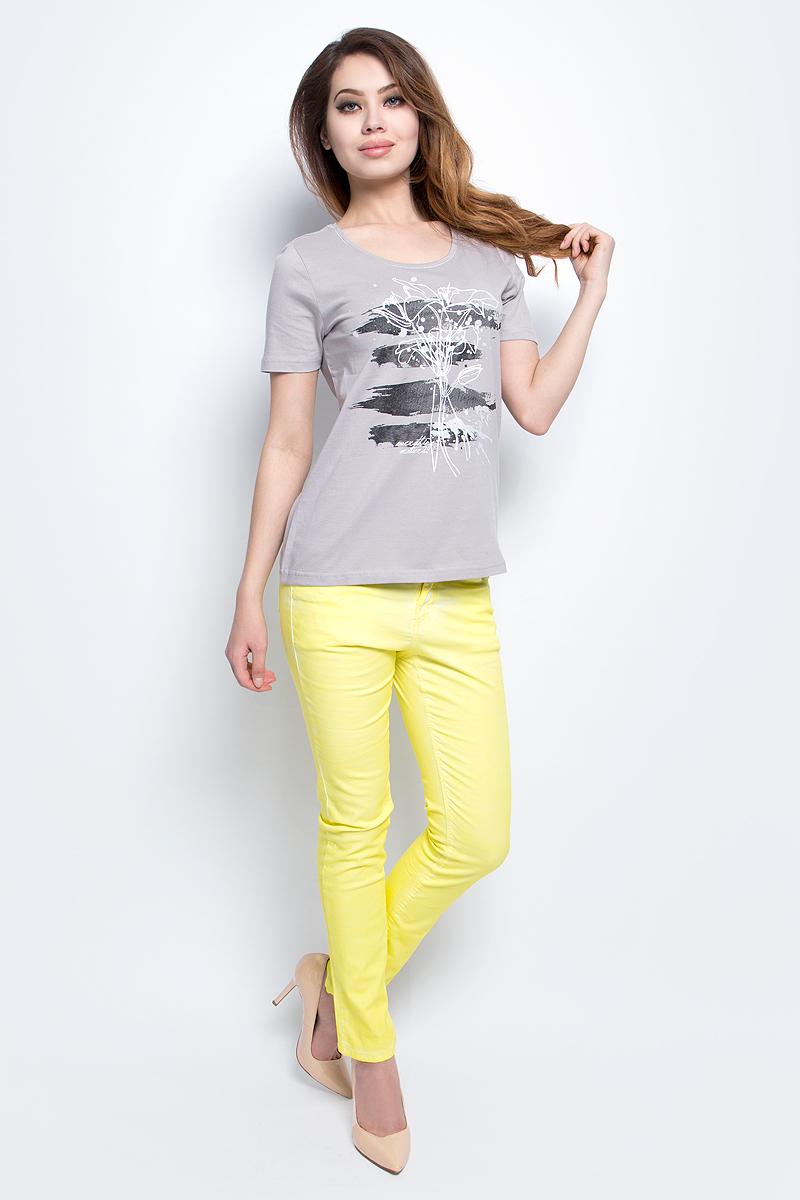 Футболка женская Baon, цвет: серый. B237094_Silver. Размер L (48)B237094_SilverФутболка женская Baon выполнена из натурального хлопка. Модель с круглым вырезом горловины и короткими рукавами.
