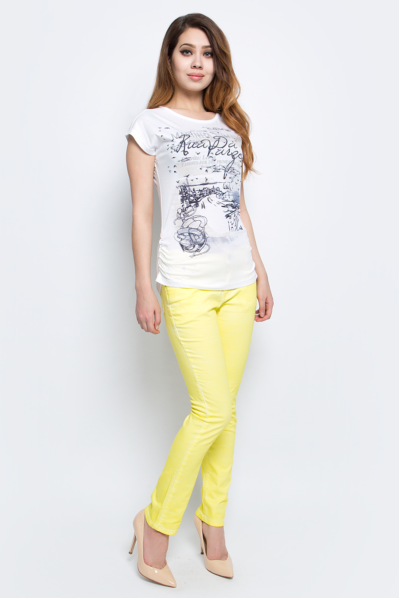 Футболка женская Baon, цвет: белый. B237092_White. Размер XL (50) футболка женская baon цвет белый b237081 white размер xl 50