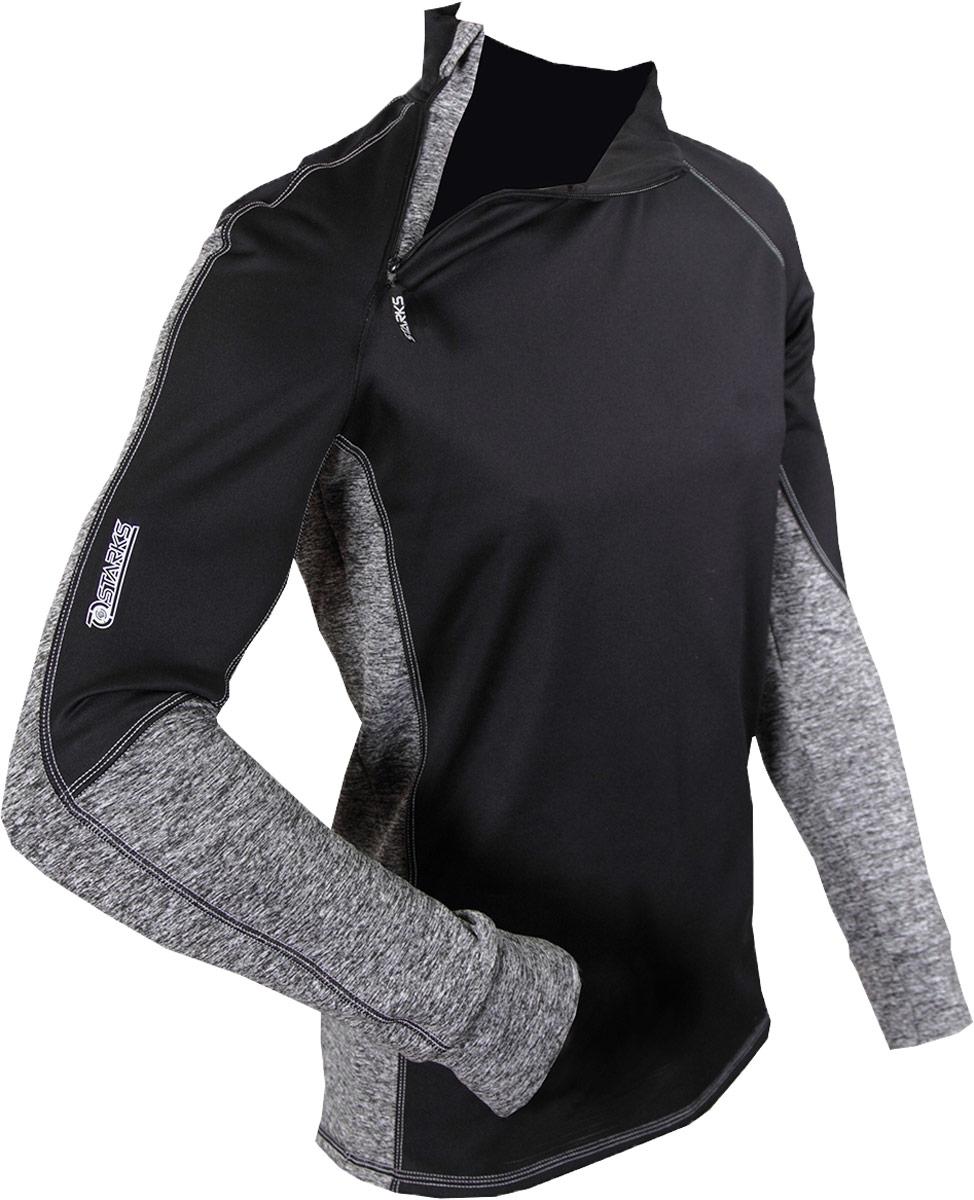 Термобелье кофта Starks Warm Extreme, зимняя, цвет: черный, серый. ЛЦ0012. Размер MЛЦ0024_MВысокотехнологичное термобелье Starks Warm Extreme гарантированно на 100% не пропускает ветер, хорошо тянется и выпускает влагу наружу.Белье рекомендуется для использования не только спортсменам зимних видов спорта, но и парашютистам, мотоциклистам, велосипедистам - всем, кто испытывает дискомфорт при сильном ветре, повышенной влажности. Анатомическое, выполнено из европейской сертифицированной ткани PolarStretch и WindStopper. Высокие эластичные свойства материала позволяют белью максимально повторять индивидуальную анатомию тела. Отличные влагоотводящие свойства, позволяют телу оставаться сухим. Термоизоляционные свойства, позволяют исключить переохлаждение или перегрев. Воротник стойка обеспечивает защиту шеи от холода. Застежка-молния обеспечивает легкое одевание кофты.Особенности: - Stop Bacteria - ткань с ионами серебра, предотвращает образование и развитие бактерий. Исключено образование запаха.-Защита от перегрева или переохлаждения.-Система мягких и плоских швов.-Гипоаллергенно. Состав: 92% полиэстер, 8% эластан.