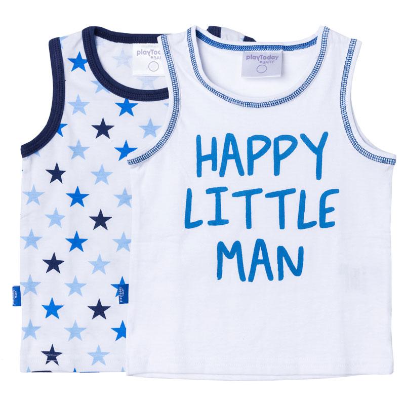 Майка для мальчика PlayToday, цвет: белый, голубой, 2 шт. 177032. Размер 80177032Майка для мальчика PlayToday с круглым вырезом горловины оформлена оригинальным принтом.