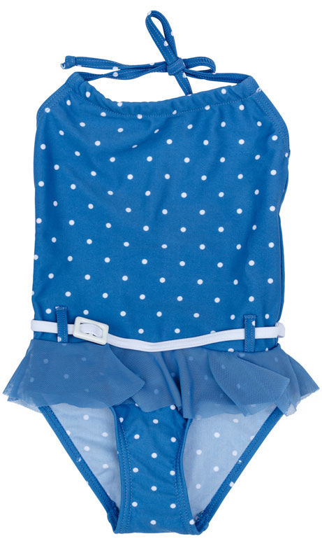 Купальник для девочки PlayToday, цвет: голубой, белый. 172132. Размер 116