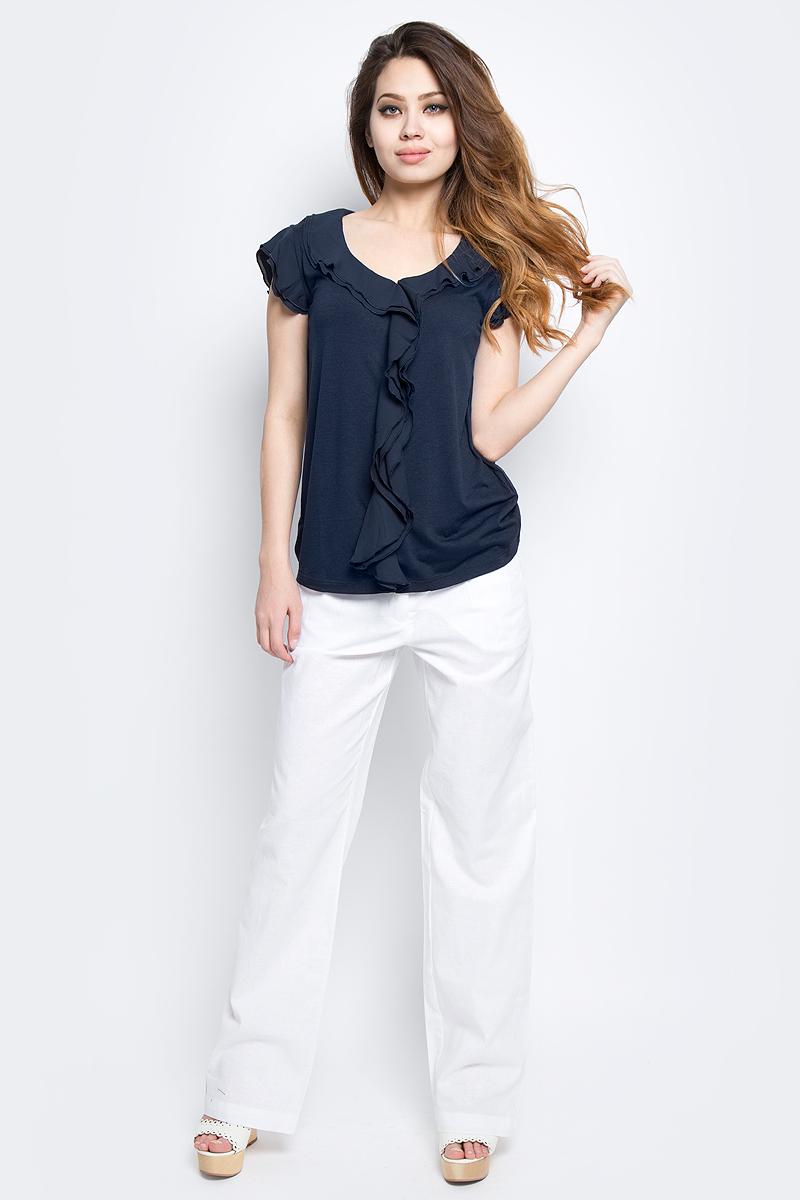 Блузка женская Baon, цвет: синий. B237014_Dark Navy. Размер XL (50)B237014_Dark NavyБлузка женская Baon выполнена из полиэстера, вискозы и эластана. Модель с круглым вырезом горловины и короткими рукавами.