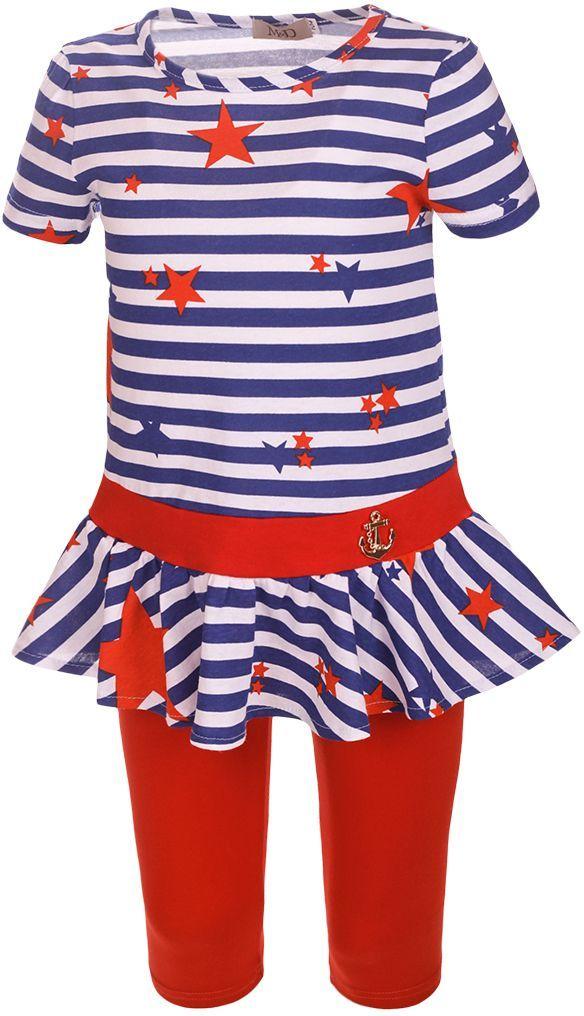 Комплект для девочки M&D: платье, леггинсы, цвет: синий, белый, красный. SJI27041M23. Размер 116 лосины для девочки m&d цвет бирюза мультиколор м33228 размер 116