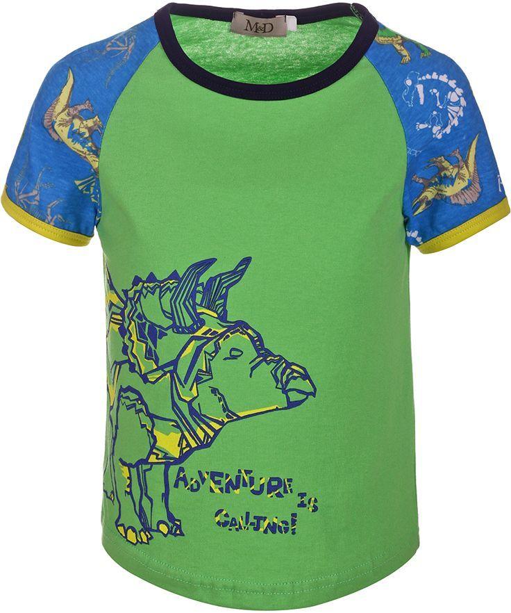 Футболка для мальчика M&D, цвет: зеленый, синий, мультиколор. SJF17012M14. Размер 104SJF17012M14Футболка для мальчика M&D исполнена из 100% натурального хлопка.Модель имеет круглый вырез горловины, дополненный трикотажной бейкой, которой обшиты так же и рукава-реглан.Футболка оформлена ярким принтом с изображением динозавров. Нежная к телу и приятно оформленная текстильная футболка обязательно понравится ребенку и подарит ему комфорт.