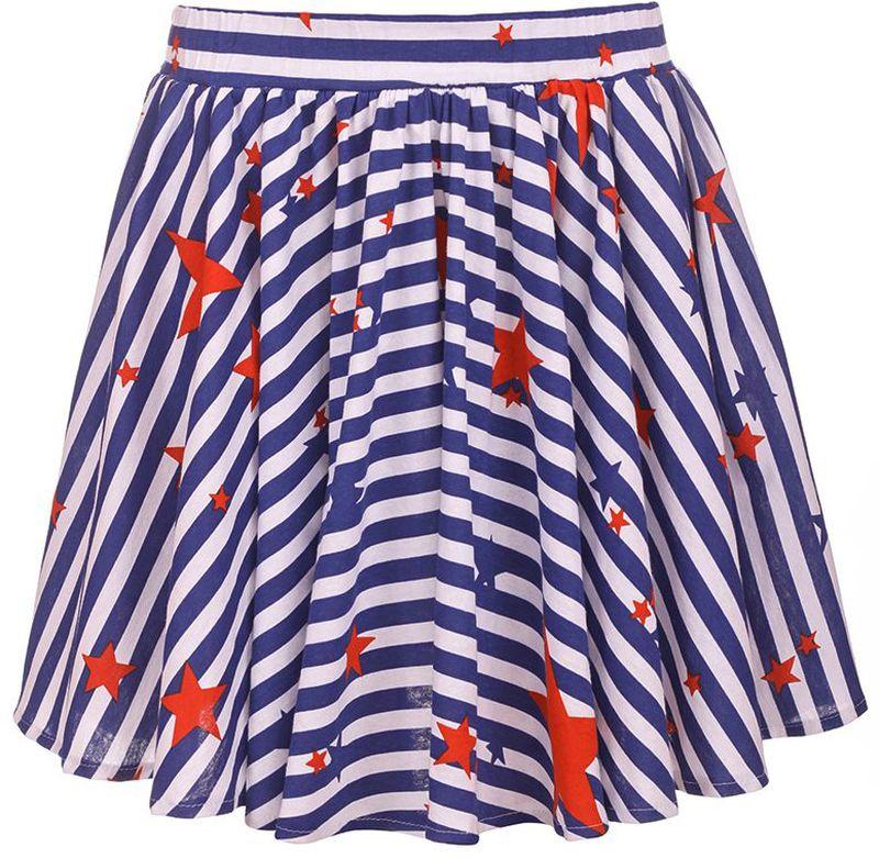 Юбка для девочки M&D, цвет: синий, белый, красный. SJA27039M23. Размер 122