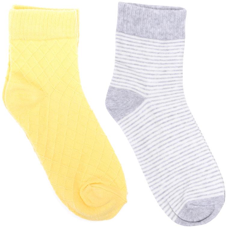 Носки для девочки Scool, цвет: желтый, серый, 2 пары. 174032. Размер 20174032Носки для девочки Scool изготовлены из качественного и тактильно приятного материала. На изделии предусмотрена мягкая эластичная резинка. Усиленные пятка и мысок обеспечивают надежность и долговечность.В комплект входят две пары носков. Одна модель оформлена полосками.