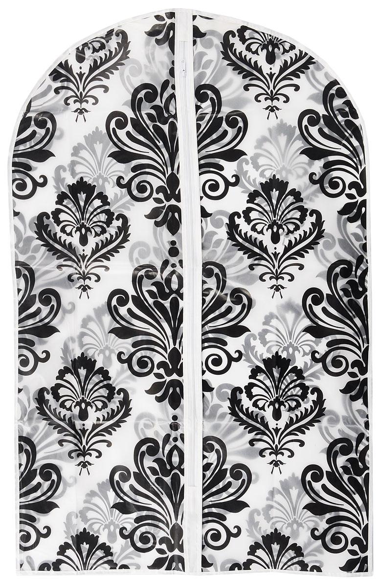 Чехол для одежды Eva Узоры, цвет: прозрачный, черный, 60 х 92 смЕ-16201_прозрачный, черныйЧехол для одежды Eva Узоры выполнен из материала PEVA. Чехол обеспечивает вашей одежде надежнуюзащиту от влажности, повреждений и грязи при транспортировке, от запыления при хранении. Изделие обладаетводоотталкивающими свойствами, а также позволяет воздуху свободно поступать внутрь вещей, обеспечивая ихкондиционирование.Закрывается на молнию. Можно стирать при температуре до 40°C.