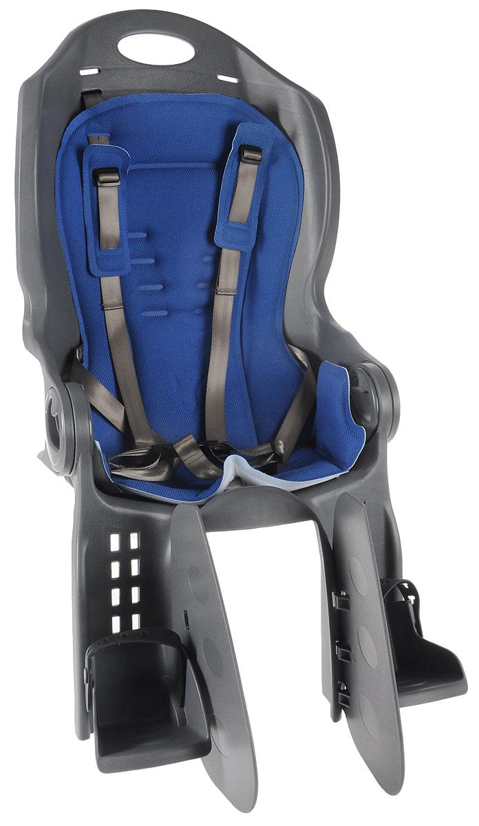 Велокресло детское Stern, на раму, цвет: серый, синий. S17ESTBA081-AMCKC-4_S17ESTBA081-AMКресло Stern предназначено для транспортировки детей на велосипеде. Пятиточечные ремни безопасности имеют дополнительный кронштейн, который фиксируется в районе груди и обеспечивает большую безопасность ребенку. Оснащено регулируемыми по высоте подножками с фиксатором ноги. Система регулировки угла наклона спинки обеспечивает удобство ребенку. Высокая спинка и мягкая прокладка кресла обеспечивает максимально комфортную посадку. Кресло соответствует Европейским стандартам качества. Устанавливается на багажник.Подходит для детей весом до 22 кг.Гид по велоаксессуарам. Статья OZON Гид