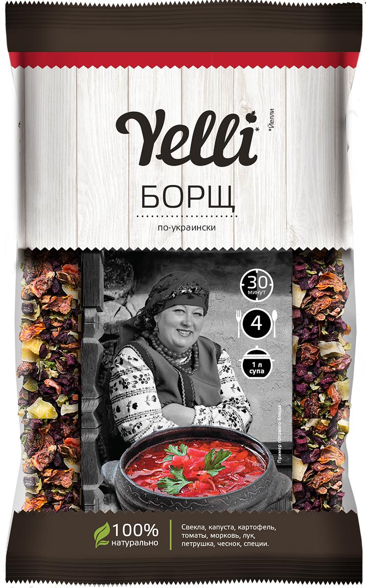 Yelli борщ по-украински, 60 гЕЛ 137/10Борщ - традиционное блюдо восточных славян, основное первое блюдо украинской кухни. Получило широкое распространение в национальных кухнях соседних народов: похожие блюда есть у поляков (barszcz баршч), литовцев (barsciai барщчай), румын (bors борш) и молдаван (борш, bors).