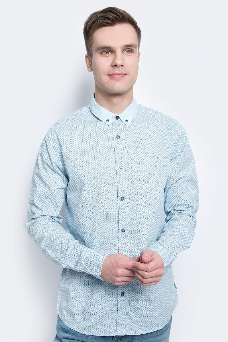 Рубашка мужская Calvin Klein Jeans, цвет: голубой. J30J304589. Размер XL (50/52) куртка мужская calvin klein jeans цвет синий j30j306966 4020 размер xl 50 52