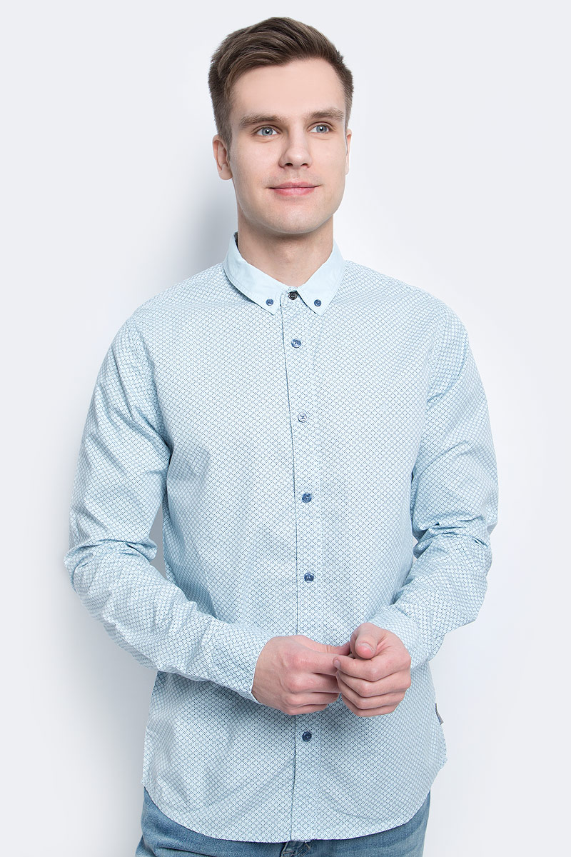 Рубашка мужская Calvin Klein Jeans, цвет: голубой. J30J304589. Размер XL (50/52) рубашка мужская calvin klein jeans цвет темно синий j30j301011 размер s 44 46
