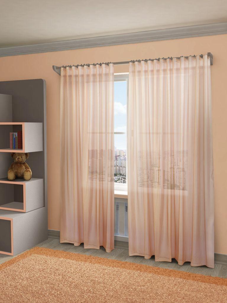 """Тюль Sanpa Home Collection """"Пегги"""", на ленте, цвет: розовый, высота 280 см"""