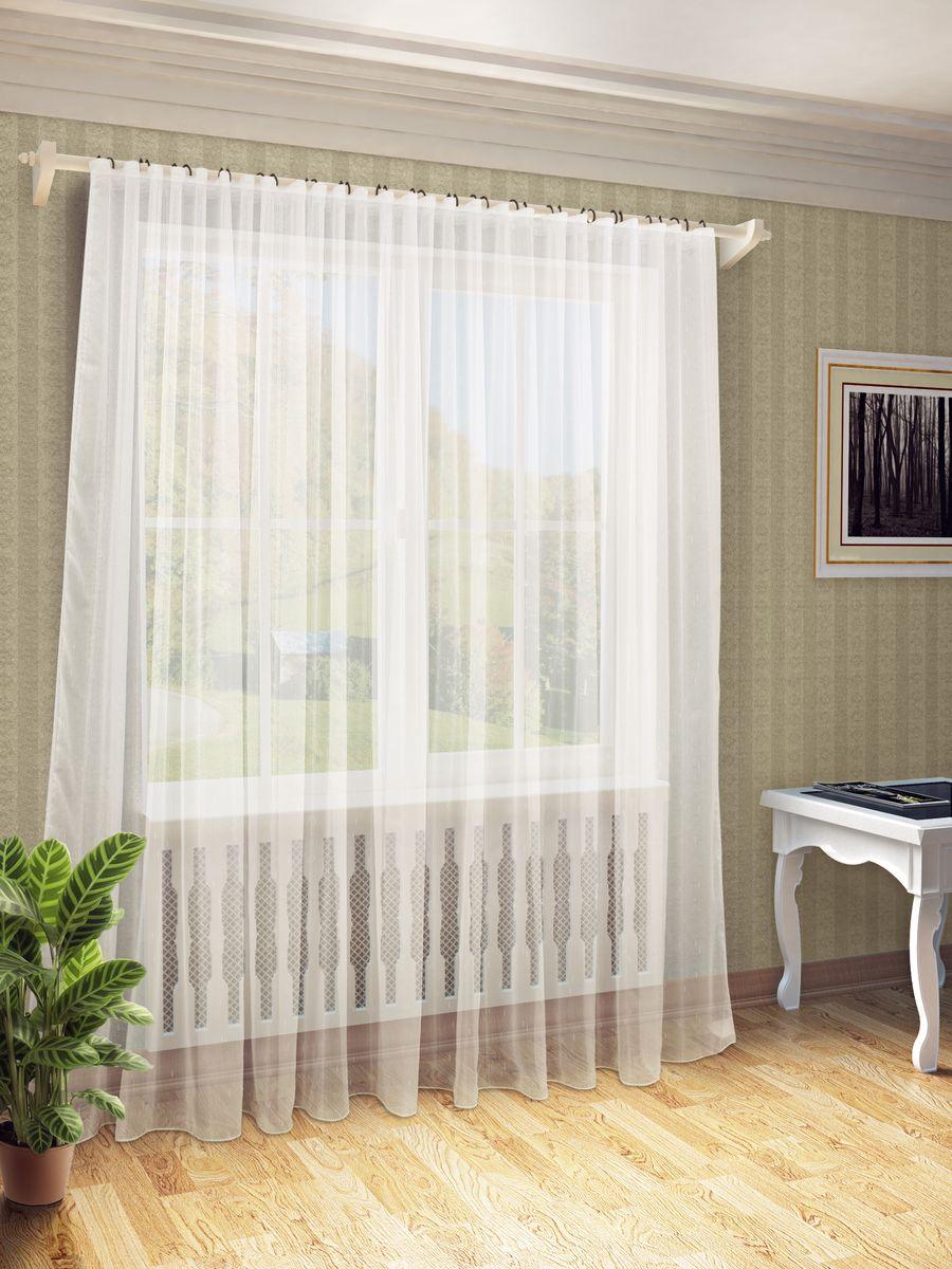 Тюль Sanpa Home Collection Долорес, на ленте, цвет: бежевый, высота 280 см тюль фиалка 1 п м 280 см вуаль