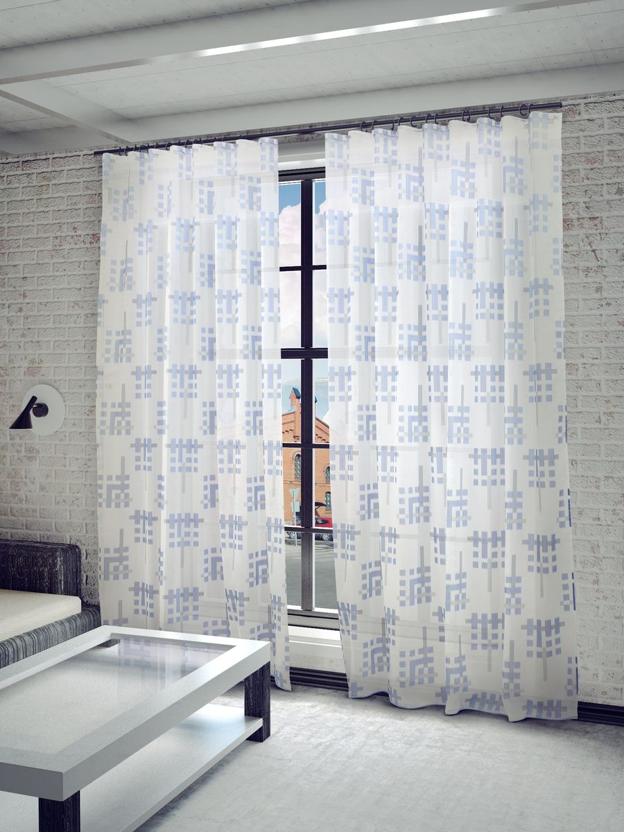 """Тюль Sanpa Home Collection """"Квадро"""", на ленте, цвет: голубой, высота 280 см"""