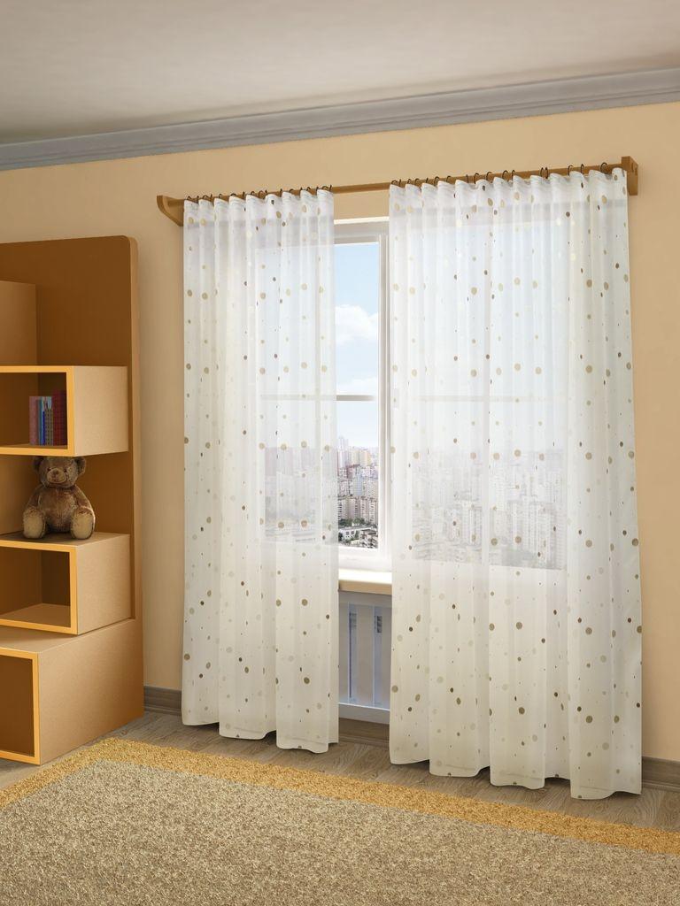 Тюль Sanpa Home Collection Джесика, на ленте, цвет: бежевый, коричневый, высота 280 см