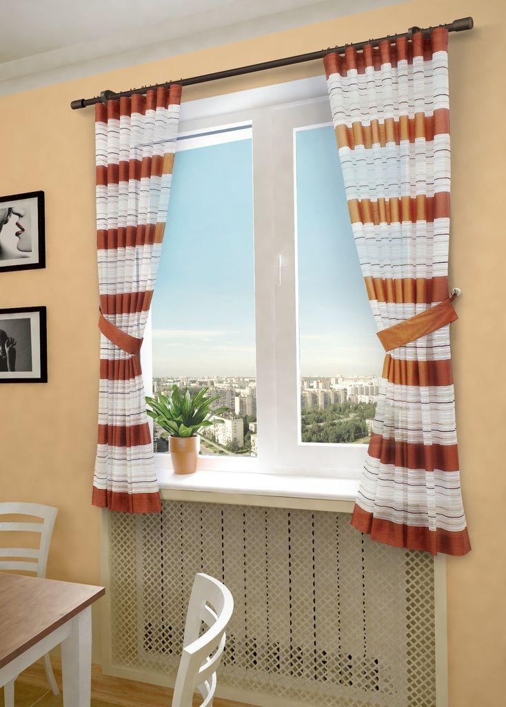 Комплект штор Sanpa Home Collection Зебра, на ленте, цвет: терракотовый, высота 180 смHP20288/7/1E Зебра терракот, , 145*180(2шт)+подхваКомплект штор Зебра, выполненный из вуали, великолепно украсит любое окно. Комплект состоит из двух штор и двух подхватов. Оригинальный рисунок и приятная цветовая гамма привлекут к себе внимание и органично впишутся в интерьер помещения. Этот комплект будет долгое время радовать вас и вашу семью!В комплект входит: Штора: 2 шт. Размер (Ш х В): 145 см х 180 см.Подхват: 2 шт.