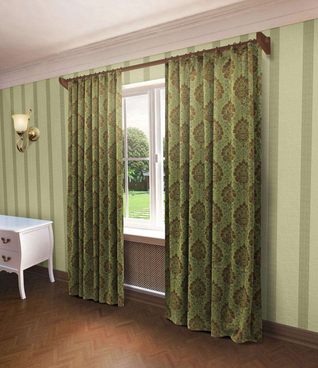 Штора Sanpa Home Collection Белинда, на ленте, цвет: зеленый, высота 260 см