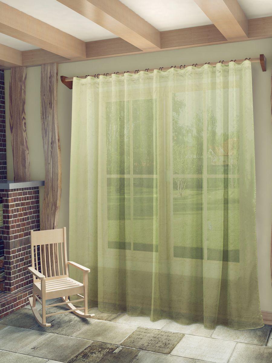 Тюль Sanpa Home Collection Рейчел, на ленте, цвет: зеленый, высота 280 см тюль sanpa home collection готовый тюль