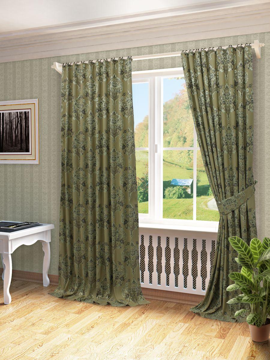 Комплект штор Sanpa Home Collection Лесли, на ленте, цвет: зеленый, высота 260 смКШЛЕСЛИ(3), шоп зеленый шторы, , 170*270см-2шт+подхватыКомплект штор Лесли, выполненный из жаккарда, великолепно украсит любое окно. Комплект состоит из двух штор и двух подхватов. Оригинальный рисунок и приятная цветовая гамма привлекут к себе внимание и органично впишутся в интерьер помещения. Этот комплект будет долгое время радовать вас и вашу семью!В комплект входит: Штора: 2 шт. Размер (Ш х В): 170 см х 270 см.Подхват: 2 шт.