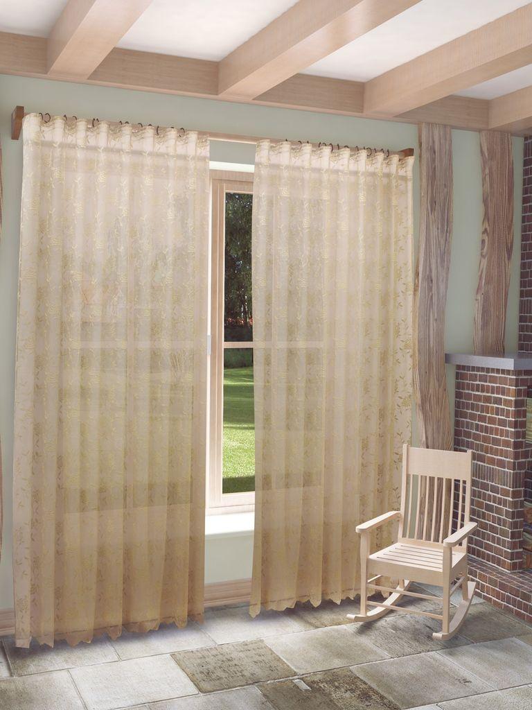 Тюль Sanpa Home Collection Рина, на ленте, цвет: темно-бежевый, высота 280 см как тюль на окно