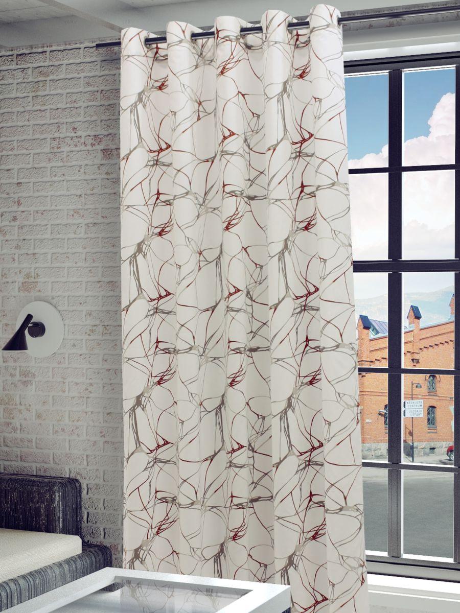 Штора Sanpa Home Collection Видана, на люверсах, цвет: белый, бежевый, терракотовый, высота 260 см комплект штор sanpa home collection эда на ленте цвет бежевый терракотовый высота 180 см
