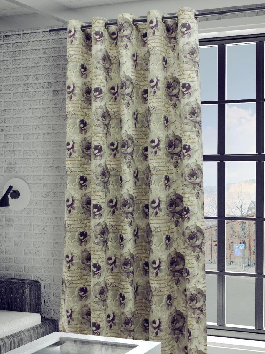 Штора Sanpa Home Collection Гелана, на люверсах, цвет: серый, сиреневый, высота 260 см floating magnetic plastic scraper brush for aquarium fish tank cleaning black coffee s page 2 page 3
