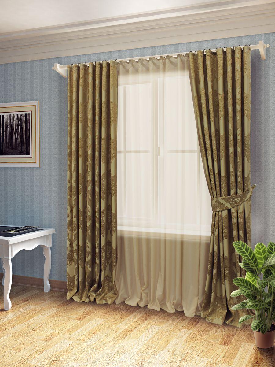 Комплект штор Sanpa Home Collection Лорейн, на ленте, цвет: темно-бежевый, высота 260 смКШЛОРЕЙН(5), темно-бежевый, , 170*260/400*260см+Комплект штор Лорейн, великолепно украсит любое окно. Комплект состоит из тюля, двух штор.Оригинальный рисунок и приятная цветовая гамма привлекут к себе внимание и органично впишутся в интерьер помещения.Этот комплект будет долгое время радовать вас и вашу семью! В комплект входит:Тюль: 1 шт. Размер (Ш х В): 400 см х 260 см.Штора: 2 шт. Размер (Ш х В): 170 см х 260 см.