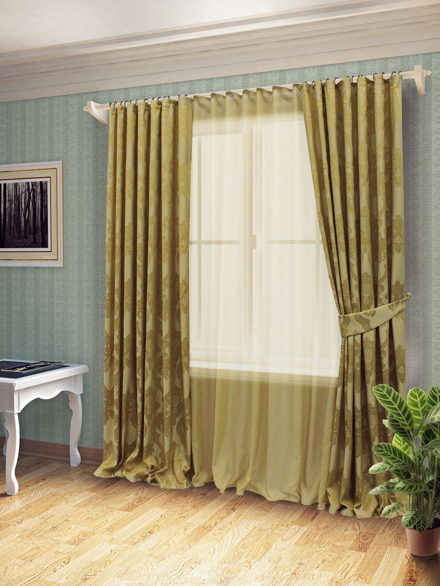 Комплект штор Sanpa Home Collection Лорейн, на ленте, цвет: золотистый, высота 260 смКШЛОРЕЙН(10), золотистый, , 170*260/400*260см+поКомплект штор Лорейн, великолепно украсит любое окно. Комплект состоит из тюля, двух штор. Оригинальный рисунок и приятная цветовая гамма привлекут к себе внимание и органично впишутся в интерьер помещения. Этот комплект будет долгое время радовать вас и вашу семью!В комплект входит: Тюль: 1 шт. Размер (Ш х В): 400 см х 260 см. Штора: 2 шт. Размер (Ш х В): 170 см х 260 см.