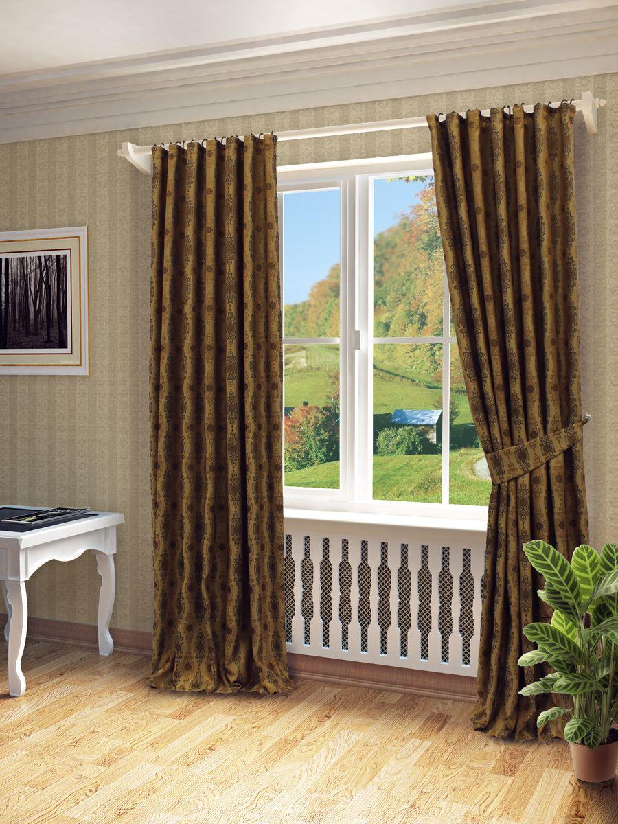 Комплект штор Sanpa Home Collection Вилма, на ленте, цвет: коричневый, высота 260 смКШВилма(149),коричневый, , 170*260см-2шт+подхватКомплект штор Вилма, выполненный из жаккарда, великолепно украсит любое окно. Комплект состоит из двух штор и двух подхватов. Оригинальный рисунок и приятная цветовая гамма привлекут к себе внимание и органично впишутся в интерьер помещения. Этот комплект будет долгое время радовать вас и вашу семью!В комплект входит: Штора: 2 шт. Размер (Ш х В): 170 см х 260 см.Подхват: 2 шт.