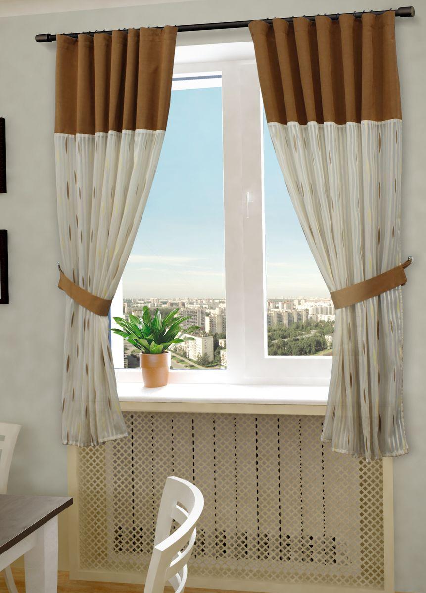 Комплект штор Sanpa Home Collection Делис, на ленте, цвет: бежевый, коричневый, высота 180 см комплект штор для кухни wisan celina на ленте цвет белый оранжевый высота 180 см