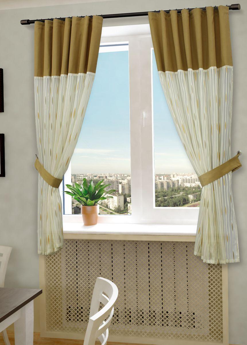 Комплект штор Sanpa Home Collection Делис, на ленте, цвет: бежевый, оранжевый, высота 180 смКШДелис(3) беж-оранжев, , 145*180 +подхватыКомплект штор Делис, выполненный из жаккарда, великолепно украсит любое окно. Комплект состоит из двух штор и двух подхватов.Оригинальный рисунок и приятная цветовая гамма привлекут к себе внимание и органично впишутся в интерьер помещения.Этот комплект будет долгое время радовать вас и вашу семью! В комплект входит:Штора: 2 шт. Размер (Ш х В): 145 см х 180 см. Подхват: 2 шт.