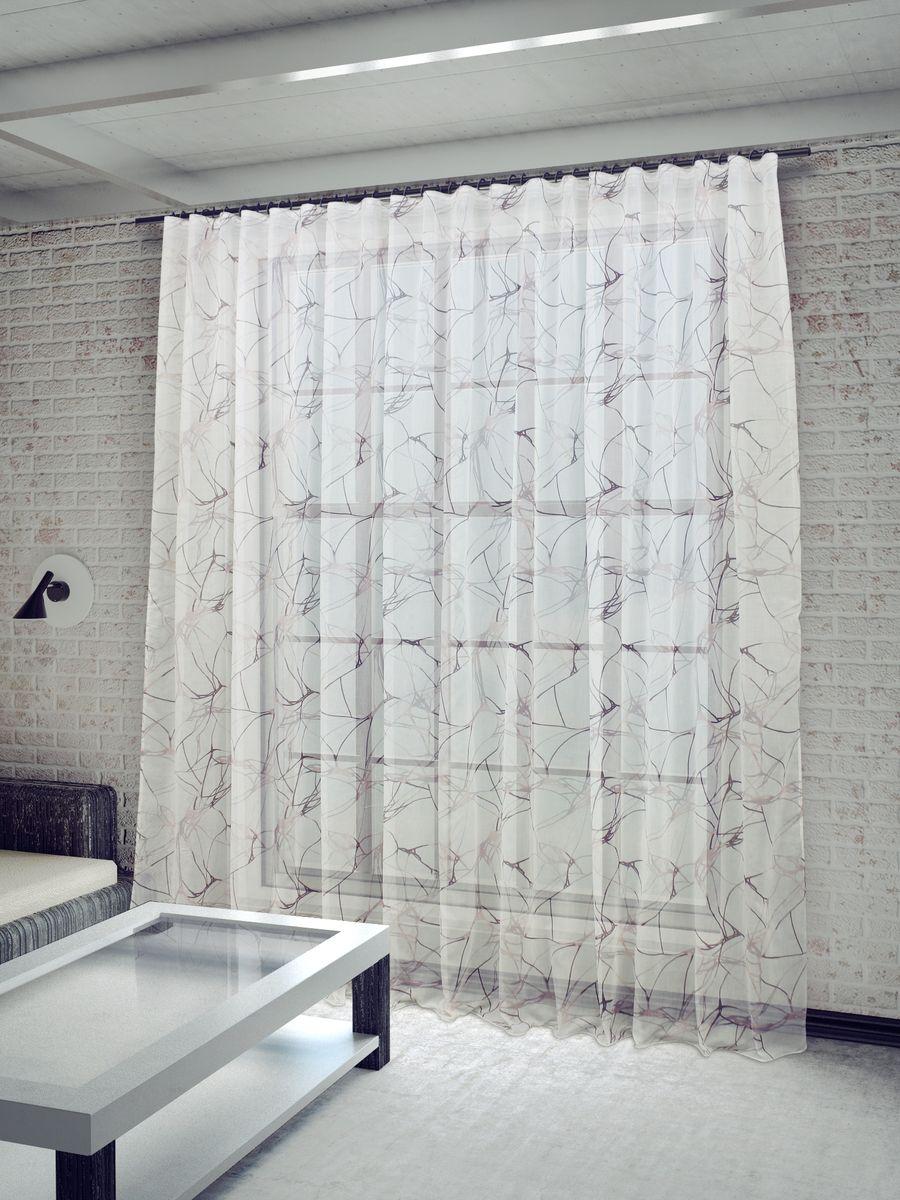 """Тюль Sanpa Home Collection """"Вида"""", на ленте, цвет: белый, сиреневый, высота 260 см"""